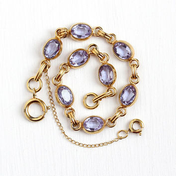 Color Change Bracelet - Vintage 12k Yellow Gold Filled Purple to Blue Glass Stones - Retro 1960 Oval February Birthstone Color Jewelry