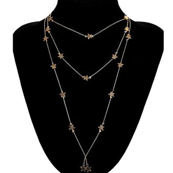 Hocus Pocus Star Multi Layer Chain Necklace - 2 Colors Available