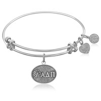 Expandable Bangle in White Tone Brass with Alpha Delta Pi Symbol