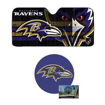 Licensed Official NFL Baltimore Ravens Car Truck Windshield Folding SunShade & Perforated Decal
