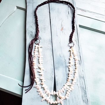 Freshwater Pearl Necklace with Braided Leather Tassel 228N