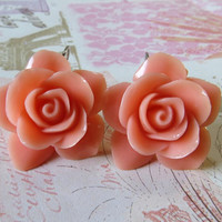 Carved coral rose earrings italian jewels bridesmaid jewellery Made in Italy Sofia's Bijoux