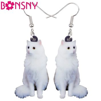 Bonsny Acrylic Elegant Sitting Snowy Kitten Cat Earrings Long Dangle Drop Fashion Jewelry For Women Girls Ladies Kids Animal Pet