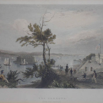 The Narrows from Fort Hamilton - W H Bartlett. Antique hand coloured print engraved by Robert Wallis. Framed & glazed - excellent condition