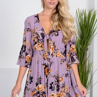 Purple Wave Floral Romper