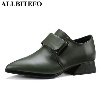 ALLBITEFO fashion casual genuine leather pointed toe thick heel women pumps medium heel high quality spring pumps girls shoes
