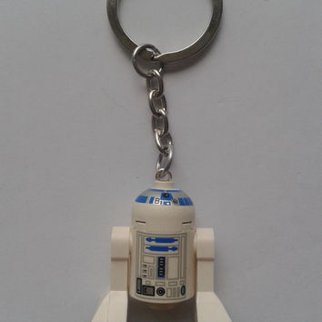 Star Wars r2-d2 minifigure keychain keyring made with LEGO® bricks