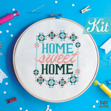 Modern Cross Stitch KIT - Modern Home sweet home - Funny Modern Colorful Happy Floral Love Sweet Typographic home decoration