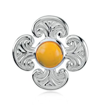 Sterling Silver and Citrine Maltese Cross Pendant