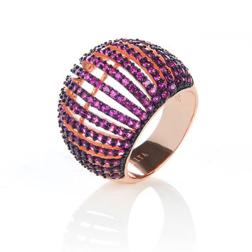 22ct Rose Gold Vermeil Micro pave statement cocktail Comb Ring - Ruby Zircon
