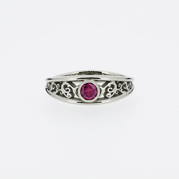 Pink Ruby filigree  ring, white gold, filigree engagement, bezel, wedding ring, pink wedding, ruby bezel ring, Ruby solitaire, blue, vintage
