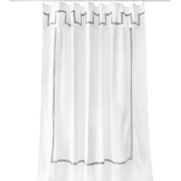 Jonathan Adler Santorini Gray and White Shower Curtain