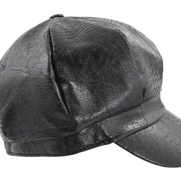 c86c92fd16123 Faux Leather Captain Newsboy Cap Fiddler Fisherman Hat Black