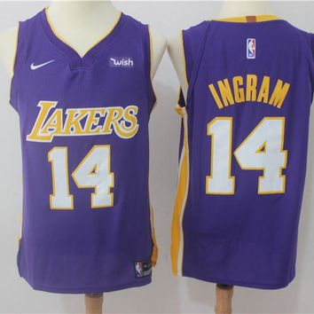 Best Deal Online NBA Authentic Basketball Player Jerseys Los Angeles Lakers # 14 Brandon Ingram Purple