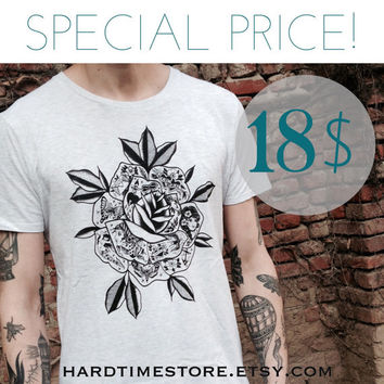 SPECIAL PRICE! tattooed rose print unisex t shirt, melange white. Screen print handmade design.for him and for her