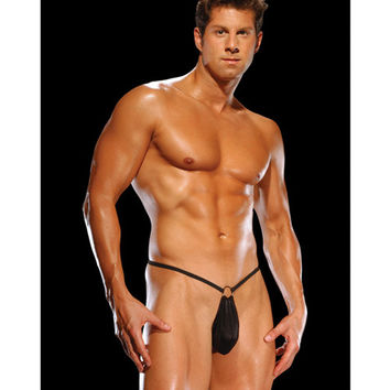 Male Power G-string W-front Ring Black O-s