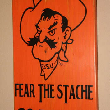Oklahoma State University Wall Art, OSU Cowboys, Distressed Wood Signs, Go Pokes, Fear the Stach, Pistol Pete, - Officially Licensed