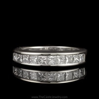Channel Set Princess Cut 1cttw Diamond Wedding Band in 14K White Gold