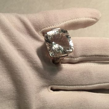 Vintage Clear Quartz Gothic 925 Sterling Silver Ring