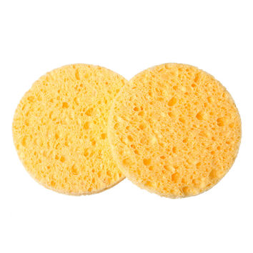 4 PCs Natural Wood Fiber Face Wash Cleansing Sponge Beauty Makeup Tools Accessories Round Yellow 7cm Dia Free Shipping (B52302)
