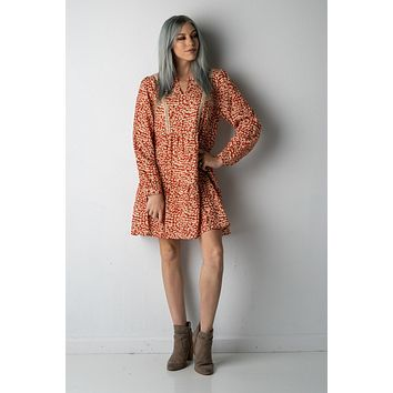 Wild About You Fall Leopard Print Dress in Rust