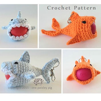 Shark & Killer Koi eos Lip Balm Holders - PDF CROCHET PATTERN