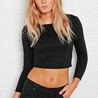 Sparkle & Fade Ribbed Zip Back Crop Top - Urban Outfitters