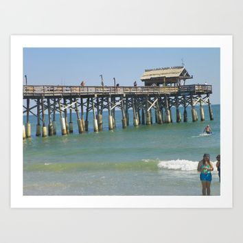 Pier at Cocoa Beach   Photo Art Print by Annette Forlenza