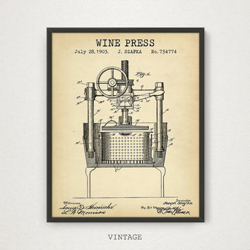 Wine Printable, Wine Press Patent Poster, Retro Art, Wine Press Decor, Bar Decor Wine Poster Print Liquor Spirits Drinks Wall Art Wine Gifts