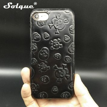 Genuine Leather Ultra Slim Cases For iPhone 7 Plus Cell Phone Luxury 3D Skull Hard Cover
