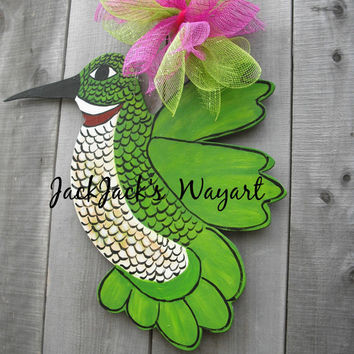 Wooden Hummingbird door hanger, Spring Door Decor, Summer Door Art, Hummingbird, Custom Made, Spring Decor,Wood door hanger, Door art