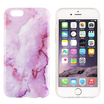Purple Natural Marble Stone Print Tough Protective iPhone XS Max Case Galaxy S8 plus S7 Edge SE Snap Case 231
