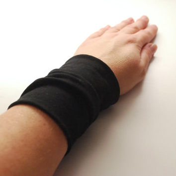 Solid BLACK Stretch Wrist Cuff Black Jersey Wrist Bracelet Fashion accessory Women Teens Wrist Tattoo Cover