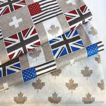 Pretty Canada Maple UK USA flag Design Printed 100% Cotton Fabric For DIY Sewing Quilting Baby Bedding Tilda Cloth Patchwork
