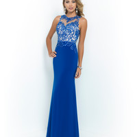Blush 9983 Royal Blue High Neck Jersey Gown 2015 Prom Dresses