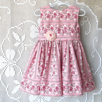 Pink and white floral little baby girl cotton sleeveless dress with sash with flower and bloomers 12 to 18 month