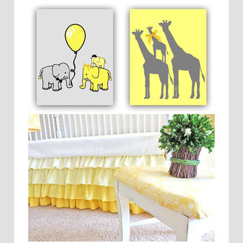 Baby Boy Nursery, Elephants Family Wall Art, Girrafe Family, Safari Nursery Decor, SET OF 2, Animals Nursery Art, Zoo Nursery Wall Decor