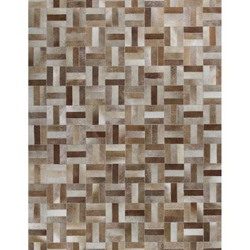 Basket Cowhide Hand-Stitched Rug