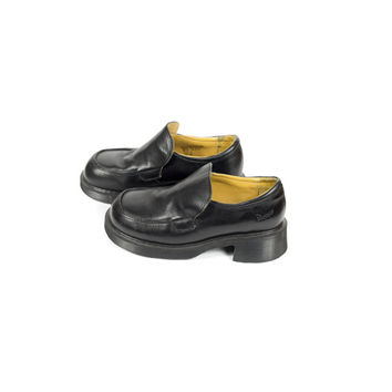 uk 5 | like new | Dr Martens made in england Black Leather Penny Loafers / vintage / slip on / platform / uk size 5 / womens us 7 / eu 38