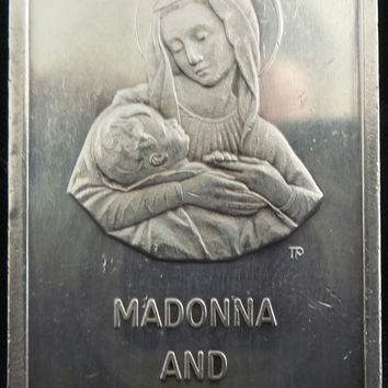 Vintage Colonial Mint 1973 Madonna And Child Christmas 1 Oz .999 Fine Silver Art Bar