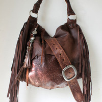 Large tribal chocolate brown leather raw edges purse bohemian fringed fringe woodstock bag tote large asymmetrical distressed tail manmade