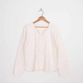 Ivory Mexican Blouse Mexican Top Mexican Tunic Top Mexican Shirt Gauze Blouse Gauze Top Cotton 70s Hippie Top 70s Boho Top M Medium L Large
