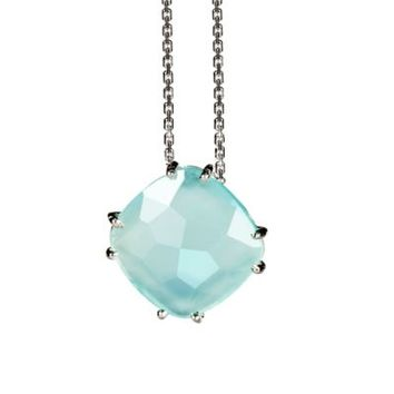 Suzanne Kalan Sterling Silver 12mm Cushion Cut Gemstone Pendant Necklace