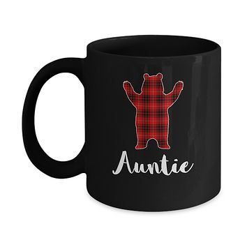 Red Auntie Bear Buffalo Plaid Family Christmas Pajamas Mug