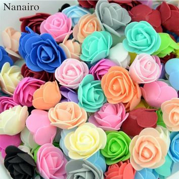 500pcs/lot Mini PE Foam Rose Flower Head Artificial Rose Flowers Handmade DIY Wedding Home Decoration Festive & Party Supplies