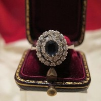 Sapphire and Diamond ring set in fourteen karat white gold