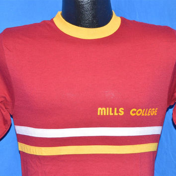 70s Mills College Blue Bar Champion Striped Maroon Gold Ringer t-shirt Small