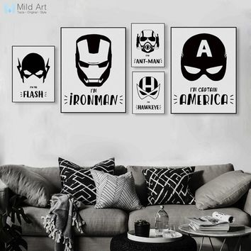 Black and White Superhero Avengers Mask Batman Movie Posters Prints Nordic Boy Kids Room Decor Wall Art Pictures Canvas Painting