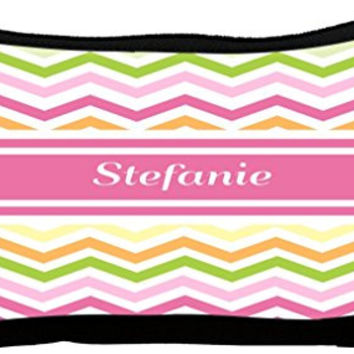 Rikki Knight Stefanie Pink Chevron Name Neoprene Pencil Case (dky-Neo-pc8094)
