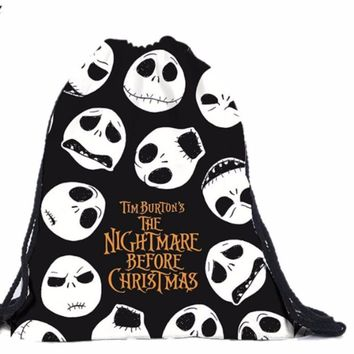black skull nightmare before christmas string bag
